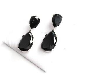 Black   Massive  Dangle silvrer tone pierced earrings  #1771