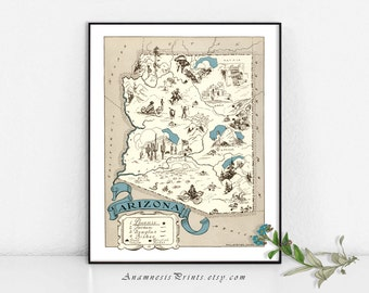 ARIZONA MAP PRINT - size & color choices - personalize it - vintage pictorial map print - perfect gift for many occasions - fun home decor