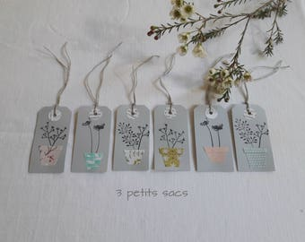 Labels, Tags, gray thick paper, pots of flowers and grasses, gift embellishment, place cards