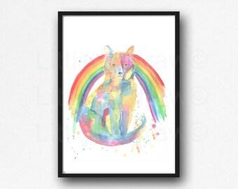 Cat Print Rainbow Cat Watercolor Painting Print Cat Wall Art Home Decor Wall Decor Cat Print Cat Lover Gift Cat Painting Rainbow Bridge