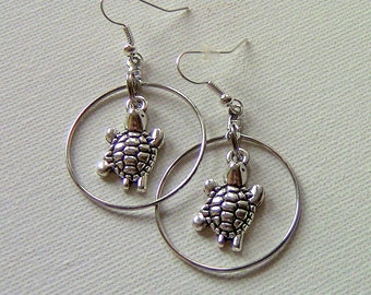 Gift For Her, Turtle Earrings, Turtle Drop Earrings, Hoop Earrings, Drop Earrings, Dangle Earrings