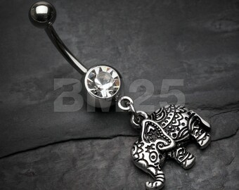 Henna Elephant Belly Button Ring