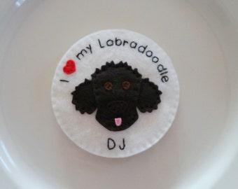 Labradoodle / Goldendoodle Magnet /  I love my Labradoodle/ Goldendoodle / Personalized Felt Handmade  - with NAME