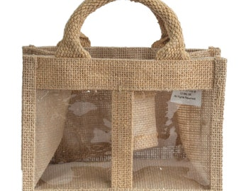 Mini Jute Gift Bag with 2 windows natural colors