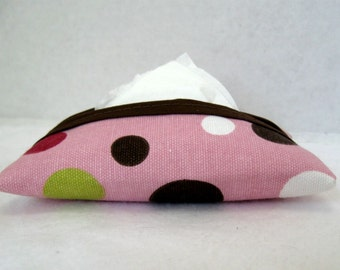 Dots Tissue Holder Pink Pocket Tissue Cozy