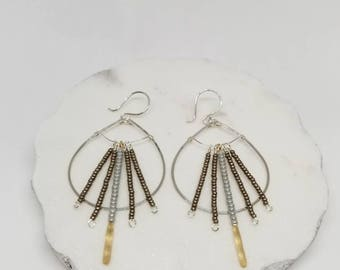 Sterling Silver Hammered Hoops Detailed with Miyuki Bead Drops