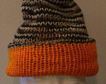 Knitted Reversible Hat - 100% Acrylic Yarn - Machine Wash & Dry - Made in USA