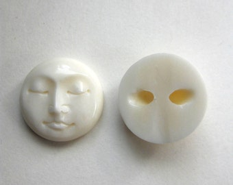 MS  Bone Face Closed Eyes Drilled Button Bead 0.5 inch 13mm (2) Carved Bali Fair Trade