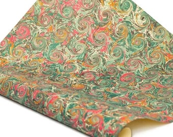 Hand-Marbled Paper Imported From Italy - Curled Stone - Green/Red