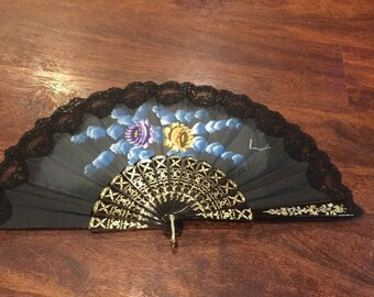 Vintage Signed hand painted Folding Fan with Black Lace
