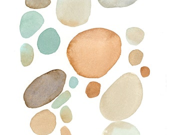 Digital print, natural river rocks watercolor print of abstract painting in teal and brown