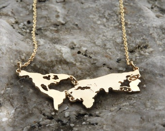 Gold Earth world necklace