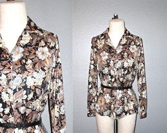 SALE - Vintage 70s boho blouse FLORAL long sleeve top - S/M