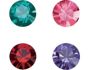 5, 10 or 20 rhinestones - Crystal Swarovski SS39 (1088) 8 mm - blue zurcon, pink, light siam (red) or tanzanite (purple)
