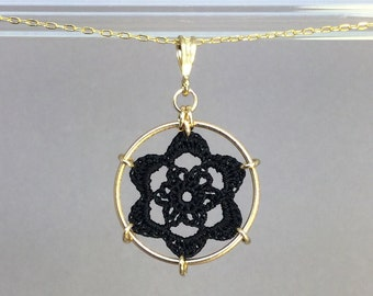 Peony doily necklace, black silk thread, 14K gold-filled