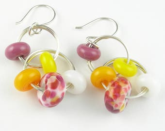 Beadbijoux Sterling Silver Handmade Lampwork Glass Long Dangle Hoop Earrings in Pink Yellow Orange White