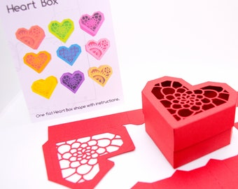 Heart Gift Box - flat shapes with instructions papercraft activity