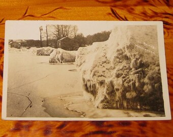 Ice Banks Wellington Ontario Herington & Son Real Photo Postcard rppc Ont Early 1900s