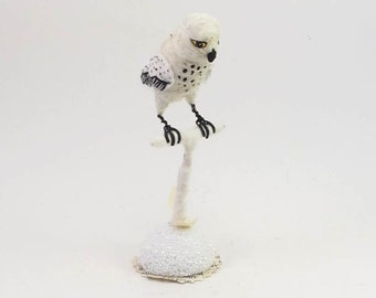 Vintage Inspired Spun Cotton Snowy Owl on Perch Figure (MADE TO ORDER)