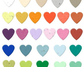 350 Biodegradable Seed Paper Heart Confetti - Plantable - Your Color Choice - Weddings - Showers - Valentine's - Table Scatter - 7/8 inch