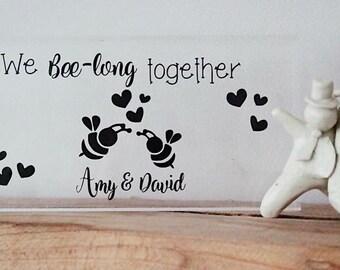 We bee-long together acrylic block