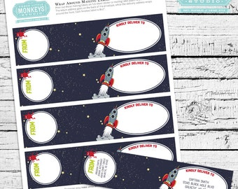 Retro Rockets & Robots Outer Space Mailing Labels - INSTANT DOWNLOAD