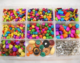 Two Pound Lot of Mixed Assorted Beads & Jewelry Making Supplies Free Shipping