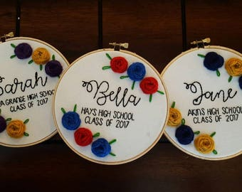 Handmade Personalized Embroidered High School or College Graduation Gift Class of 2018