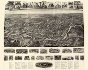 Willimantic  Connecticut  1909 Birds Eye View CT Reprint