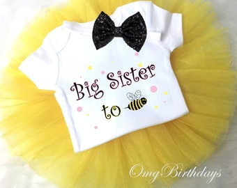 Yellow Big Sister to BEE Be pink Polka dots Big Sister to Sister Brother to Be Shirt Tee Tutu Sequins Bow Headband Outfit Set