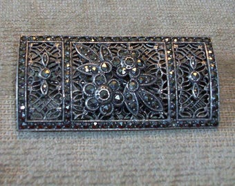 Vintage Marcasite Stamped Sterling Silver Pin