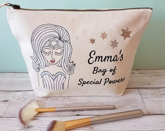 Miss Special Powers Make Up Bag / Personalised Makeup Bag / Personalized Zipper Pouch / Custom Bag / Christmas Gift