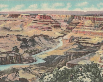 Vintage 1950's Vintage Linen Postcard Near Lipan Point in the Grand Canyon National Park in Arizona and The Colorado River Below