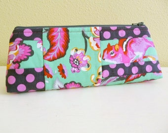 Patchwork Chipper Long Zippered Pouch, Chipmunk Pencil Case, Makeup Bag made with Tula Pink Fabric