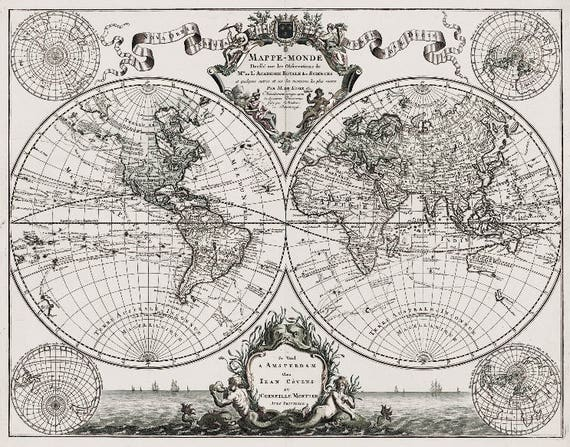 Lisles 1720 old world map historic map antique style lisles 1720 old world map historic map antique style world map guillaume de lisle mappe monde wall map vintage map 14 x 11 gumiabroncs Images