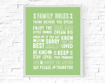 """Printable Family Rules Typography Print - Word Poster - Home Decor -  Instant Download - Contemporary Wall Art - 8""""x10"""" and A4."""