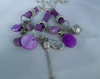 Purple- Silver Charm Necklace - Pendant: Chain, Rings, Starfish,Hearts, Shells, Acrylic Beads, Mother of Pearl