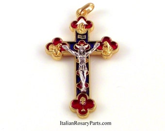 Five Way Trinity Jubilee Rosary Crucifix  Goldtone With Blue and Red Enamel| Italian Rosary Parts