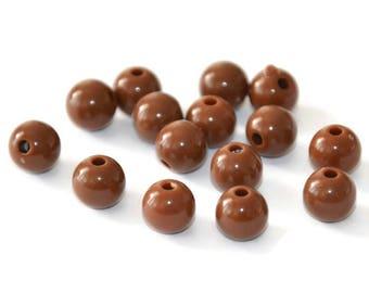10 dark brown acrylic beads 8mm