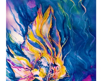 Fantasy Fish... Colorful abstract fish art - archival Giclée print from original oil painting by Kathy Morton Stanion EBSQ