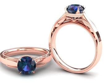 Alexandrite Ring 1.50 Carat Color Change Alexandrite Solitaire Engagement Ring In 14k or 18k Rose Gold SJW1ALEXR