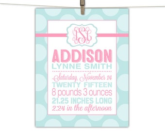 Personalized baby girl gift - nursery wall art keepsake - mint and pink nursery baby girl - monogram birth stats - personalized art print