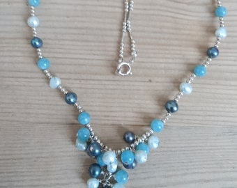 Sterling silver blue gemstone and real pearl necklace
