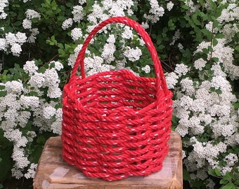 Small Hand Woven Rope Basket Red
