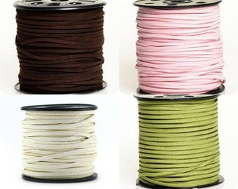 5 - 10 or 20 meter Suede (artificial suede) 3 mm dark brown (chocolate), light pink, beige or olive green