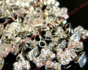 Earring Nut Butterfly Clutch Platinum Plated Over Brass- 100pcs