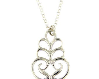 Scroll pendant – silver – High polished sterling silver Necklace Hand Made in UK