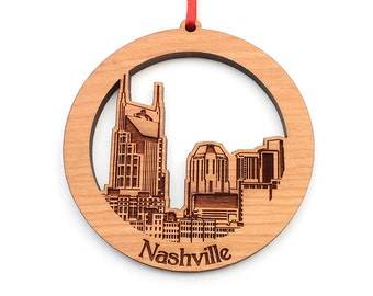 Nashville Tennesee Christmas Ornament of City Skyline in a Circle Ornament