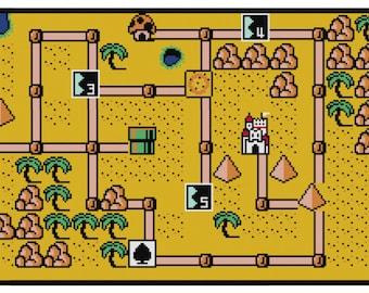 Super Mario Bros. 3 World 2 Map Cross Stitch Pattern (PDF)