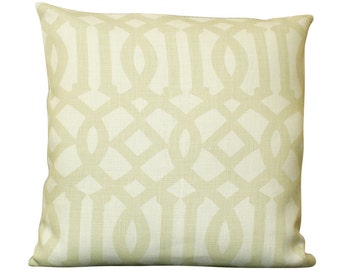 Schumacher Imperial Trellis Pillow Cover in Sand and Ivory